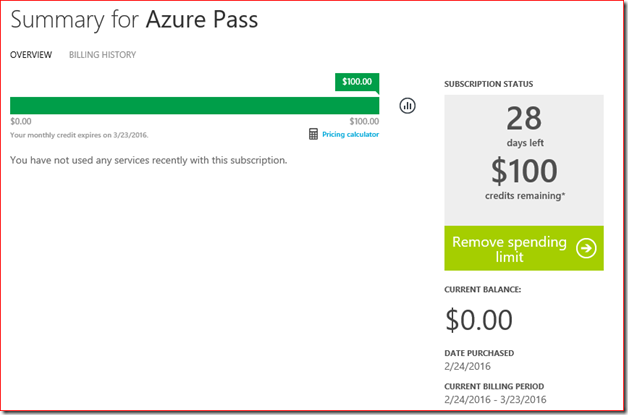 Summary for Azure Pass