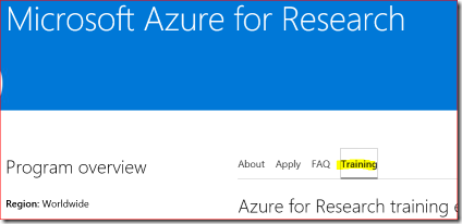 Azure for Research Training Materials
