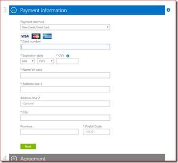 Azure Payment Information